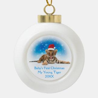 Premier Noël du bébé doux du tigre | Boule En Céramique