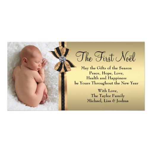 Premier Noël du bébé noir d'or Cartes De Vœux Avec Photo