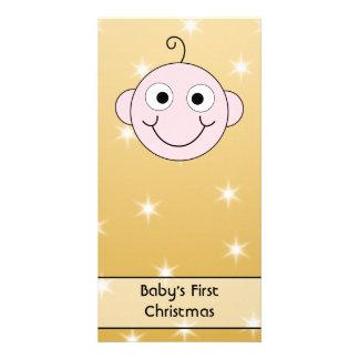 Premier Noël du bébé Sur le fond de couleur d or Cartes De Vœux Avec Photo