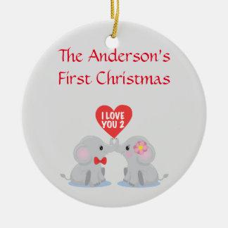 Premier Noël du couple Ornement Rond En Céramique