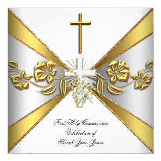 Premier or 2 floraux blancs de sainte communion de carton d'invitation  13,33 cm