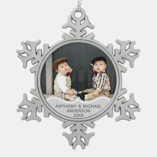 Premier ornement Babys de PHOTO de Noël de JUMEAUX