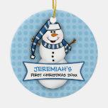 Premier ornement de bonhomme de neige de Noël du Ornement Rond En Céramique