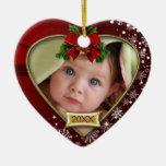 Premier ornement de cadre de photo de Noël du bébé