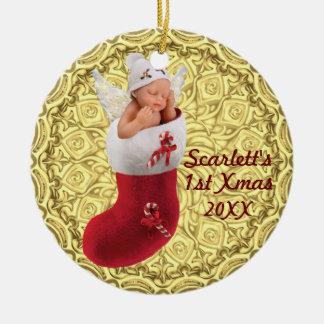 premier ornement de Noël de babys - or