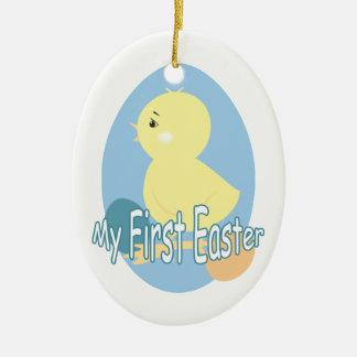 Premier ornement de Pâques de poussin mignon de