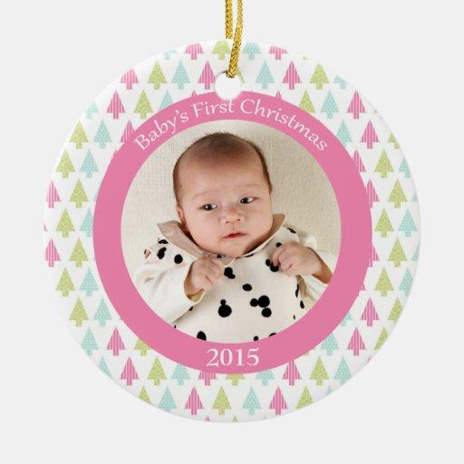 Premier ornement de photo de Noël du bébé à la mod