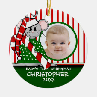 Premier ornement de souris de Noël du bébé