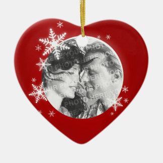 Premier ornement romantique de photo de Noël