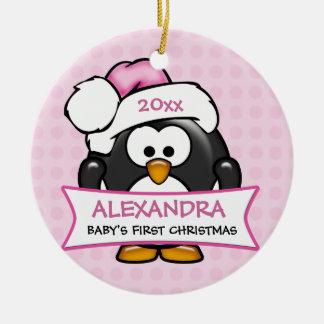 Premier pingouin de Noël du bébé personnalisé Ornement Rond En Céramique