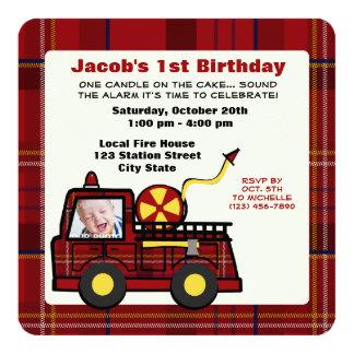 Premier plaid d'anniversaire de camion de pompiers invitations personnalisées