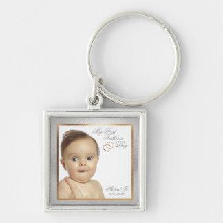 Premier porte - clé de fête des pères de photo porte-clé carré argenté