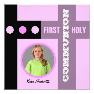 Premier rose 2 d'invitation de sainte communion