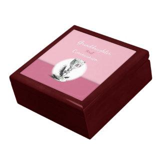 Premier rose de communion de petite-fille, calice grande boîte à bijoux carrée
