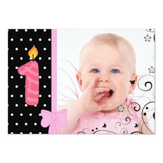 Premier rose d'invitation de fête d'anniversaire carton d'invitation  12,7 cm x 17,78 cm