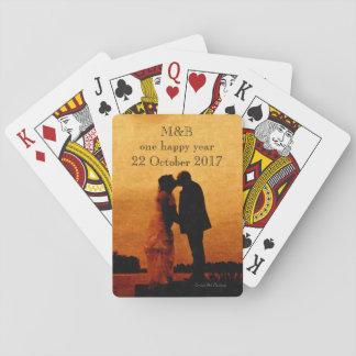 Premier souvenir d'anniversaire de mariage d'année jeu de cartes