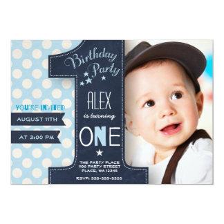 Premier tableau de garçon d'invitation de fête carton d'invitation  12,7 cm x 17,78 cm