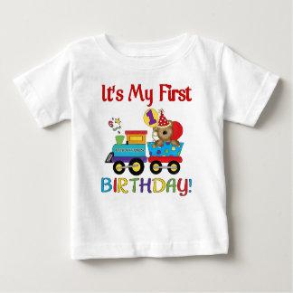 Premier train de l'anniversaire du bébé t-shirt pour bébé