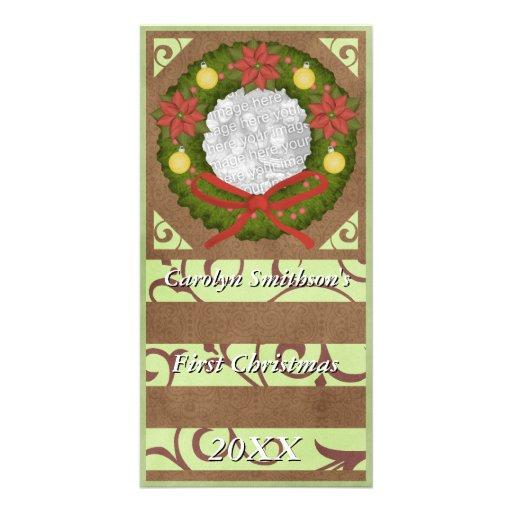 Premier vert Brown de guirlande de Noël de bébé Cartes Avec Photo
