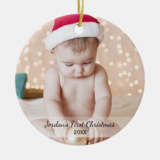 Premier Yea de nom de photo de Noël du bébé Ornement Rond En Céramique