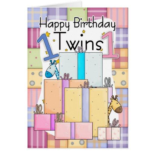 Première carte d'anniversaire de jumeaux - cadeaux