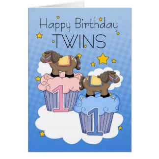 Première carte d'anniversaire de jumeaux - deux