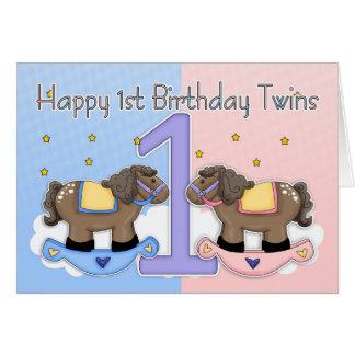 Première carte d'anniversaire de jumeaux - deux pe