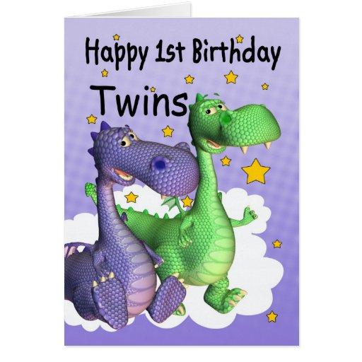 Première carte d'anniversaire de jumeaux - dragons