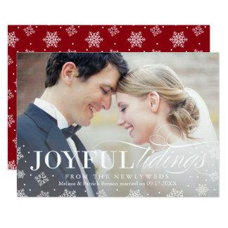 Première carte de Noël de nouveaux mariés joyeux