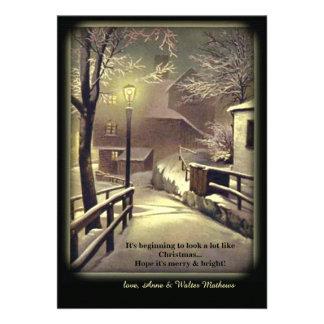 Première carte de vacances de neige invitation personnalisable