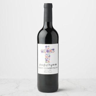 Première communion d'aquarelle de croix pourpre de étiquette pour bouteilles de vin