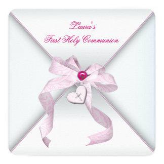 Première communion de coeur de croix de rose rose carton d'invitation  13,33 cm
