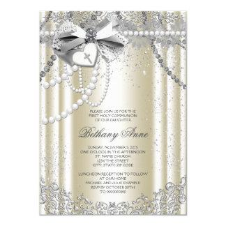 Première communion de croix beige ene ivoire de carton d'invitation  11,43 cm x 15,87 cm