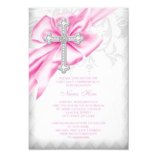 Première communion de croix rose de damassé carton d'invitation 8,89 cm x 12,70 cm