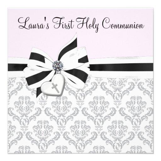 Première communion de damassé de croix noire rose  bristol