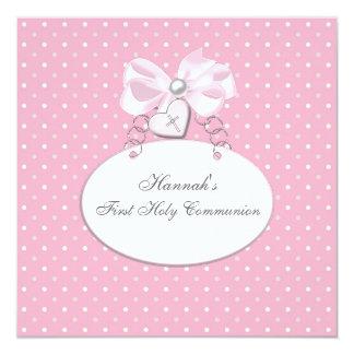 Première communion de filles croisées roses carton d'invitation  13,33 cm