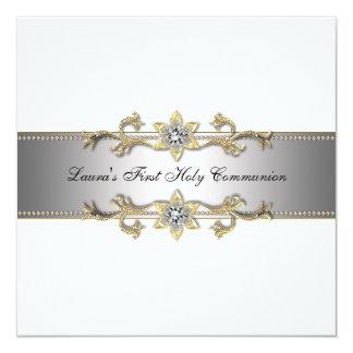Première communion de filles noires et blanches carton d'invitation  13,33 cm