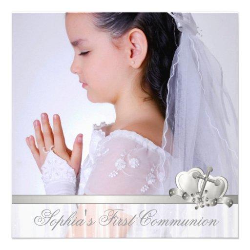 Première communion de photo blanche croisée blanch invitations personnalisables