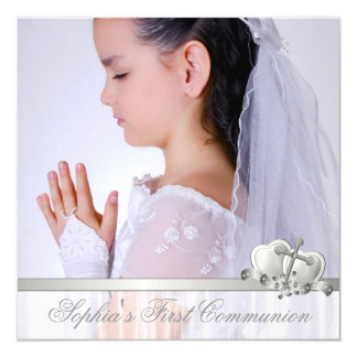 Première communion de photo blanche croisée invitations personnalisables
