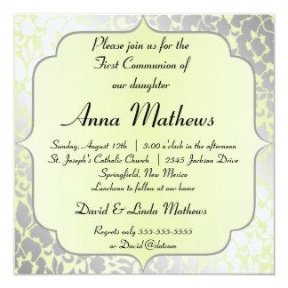 Première communion de pistache métallique élégante carton d'invitation  13,33 cm