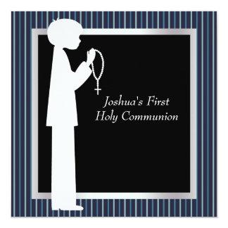 Première communion de rayure de garçons blancs carton d'invitation  13,33 cm