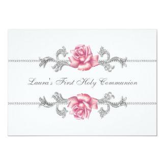 Première communion de rose de filles blanches de carton d'invitation  12,7 cm x 17,78 cm