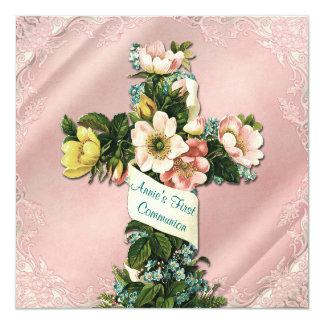 Première communion de rose vintage croisé vintage carton d'invitation  13,33 cm