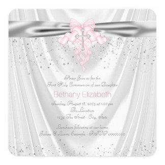 Première communion de scintillement blanc de satin carton d'invitation  13,33 cm