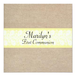 Première communion de toile de jute ambre élégante carton d'invitation  13,33 cm