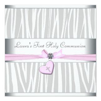 Première communion de zèbre de coeur de croix rose carton d'invitation  13,33 cm