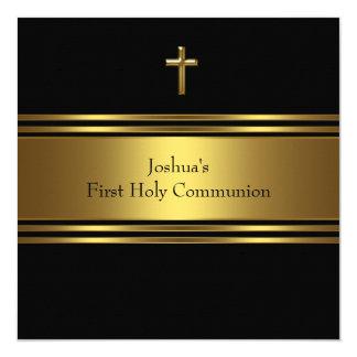 Première communion d'or de garçons noirs de croix carton d'invitation