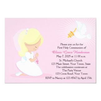 Première communion, fille blonde, rose carton d'invitation  12,7 cm x 17,78 cm