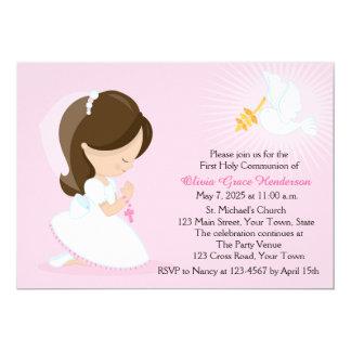Première communion, fille de brune, rose carton d'invitation  12,7 cm x 17,78 cm