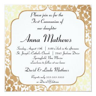 Première communion florale blanche d'or métallique carton d'invitation  13,33 cm